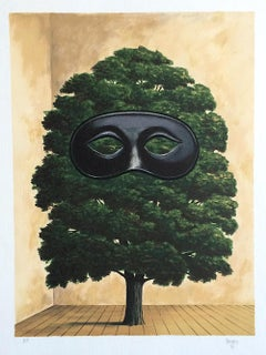 THE BIG PARADE Hand Drawn Lithograph, Surrealist Interior Scene, Tree w Mask,