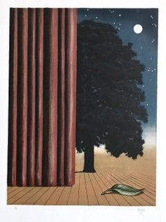 THE MAIN ATTRACTION Hand Drawn Lithograph, Surrealist, Moon, Tree Onstage