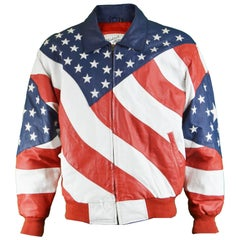 Michael Hoban Vintage Men's Stars and Stripes Embroidered Leather Jacket, 1980s