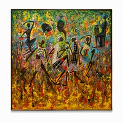 """Unknown Title"" Dancing Figures, Drummer, Vibrant Colors, Mixed Media"