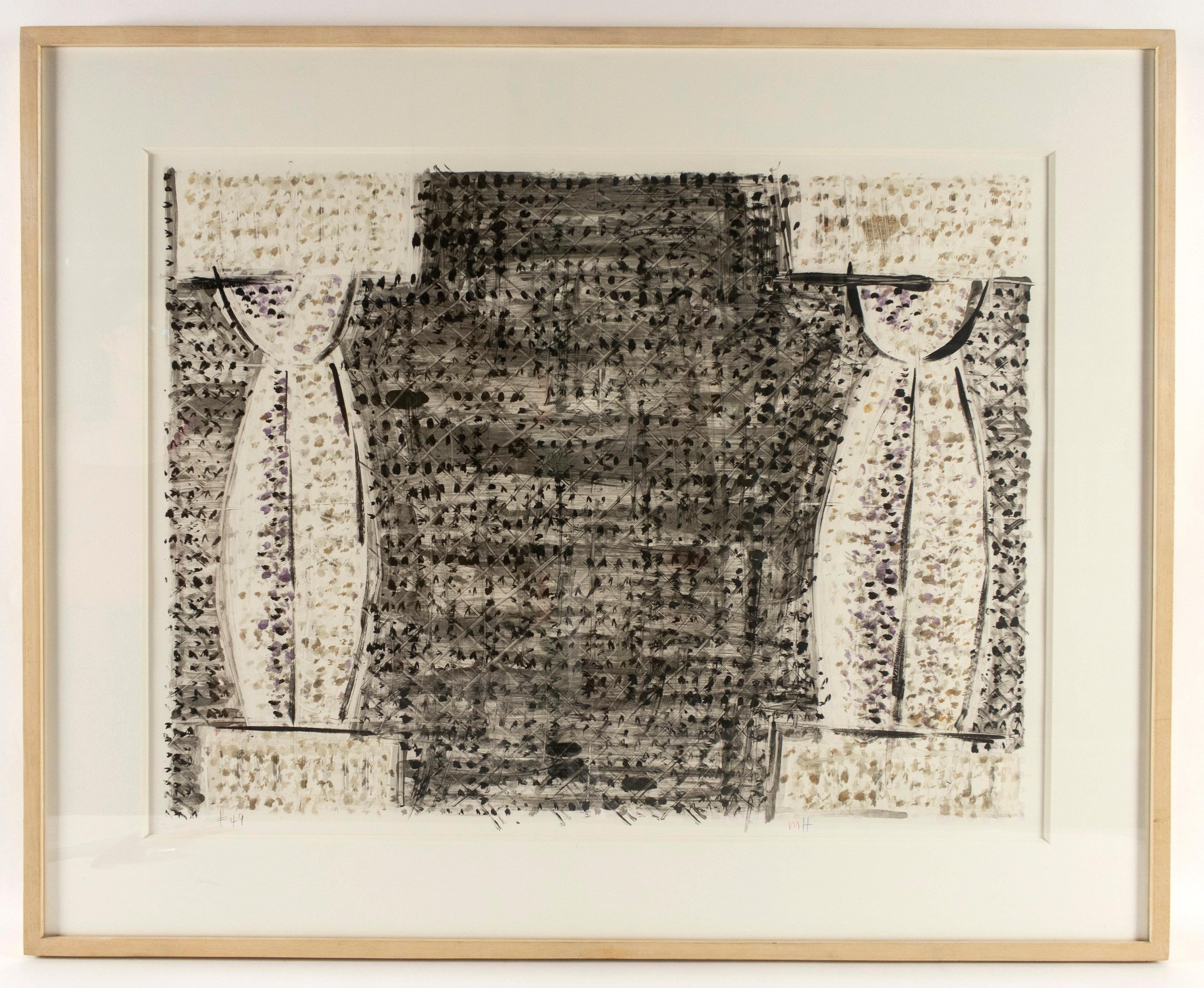 Two Columns by Michael Hurson framed abstract with greco roman pillars on stage
