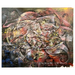 Michael Indorato 1999 Signed Large Street Art Painting on Canvas