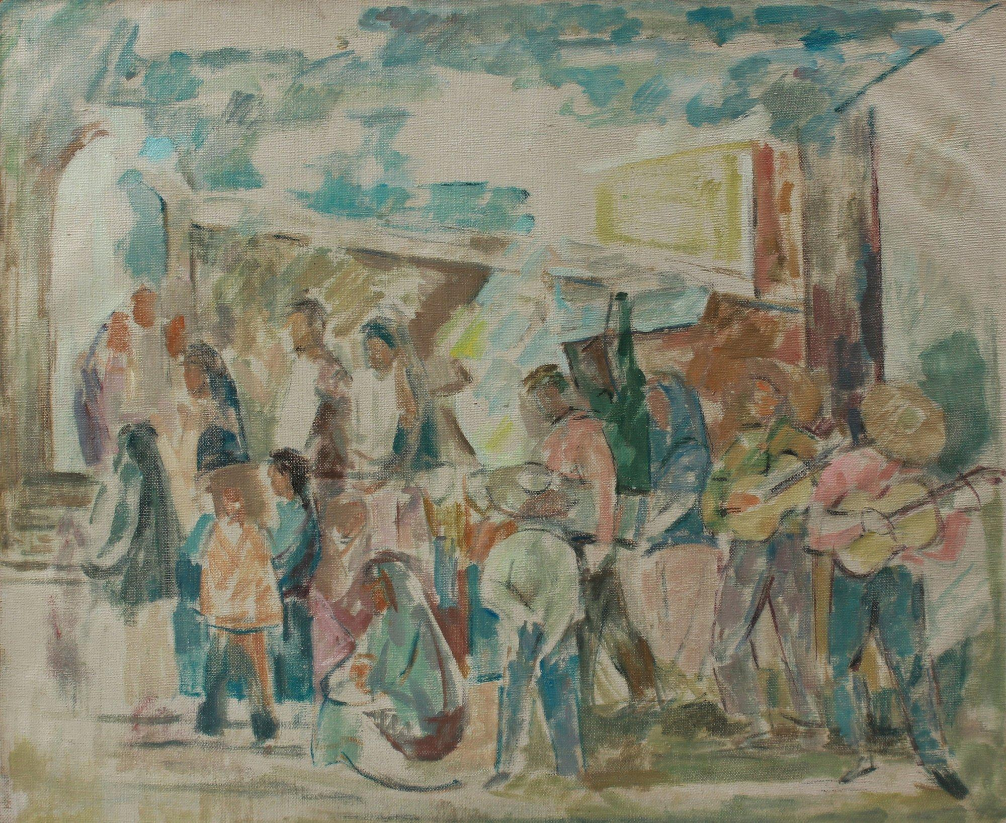 Muted Abstracted People Scene 1967 Oil