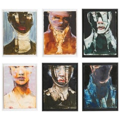 Michael J. Dowling Contemporary Oil Painting Framed, 'Untitled' Set of Six Faces