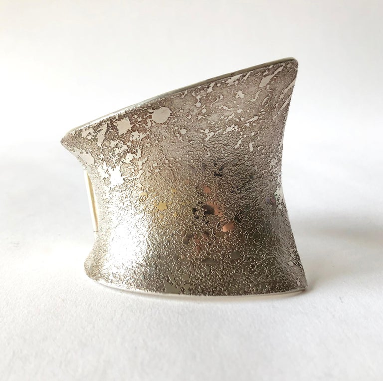 Artisan Michael John Jerry Textured Sterling Silver Anticlastic Cuff Bracelet For Sale