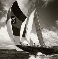 The Downwind Leg by Michael Kahn. Black and white nautical photograph.