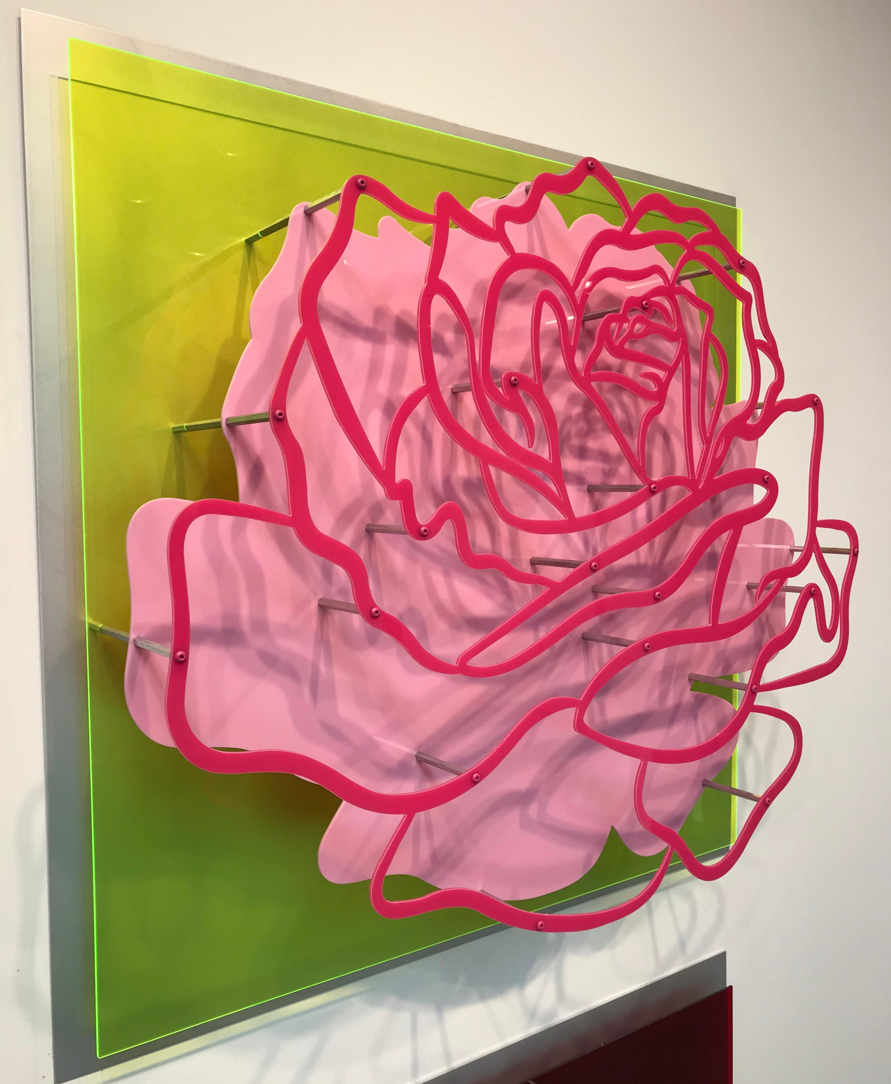 """Acrylic """"Glass"""" Rose - Pink on Lime Green"""