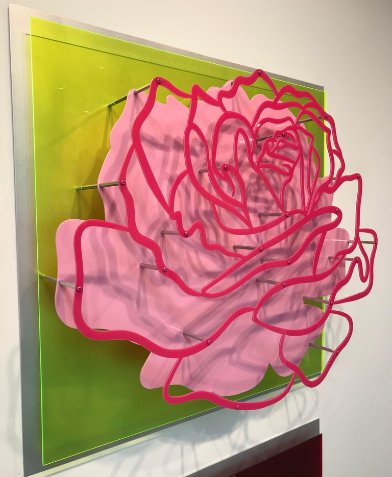 """Michael Kalish Abstract Painting - Acrylic """"Glass"""" Rose - Pink on Lime Green"""