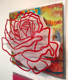 "Acrylic ""Glass"" Rose - Red on Multicolor"