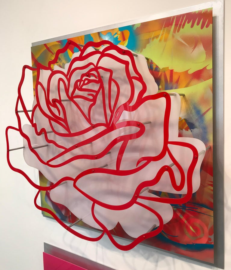 "Michael Kalish Abstract Sculpture - Acrylic ""Glass"" Rose - Red on Multicolor"