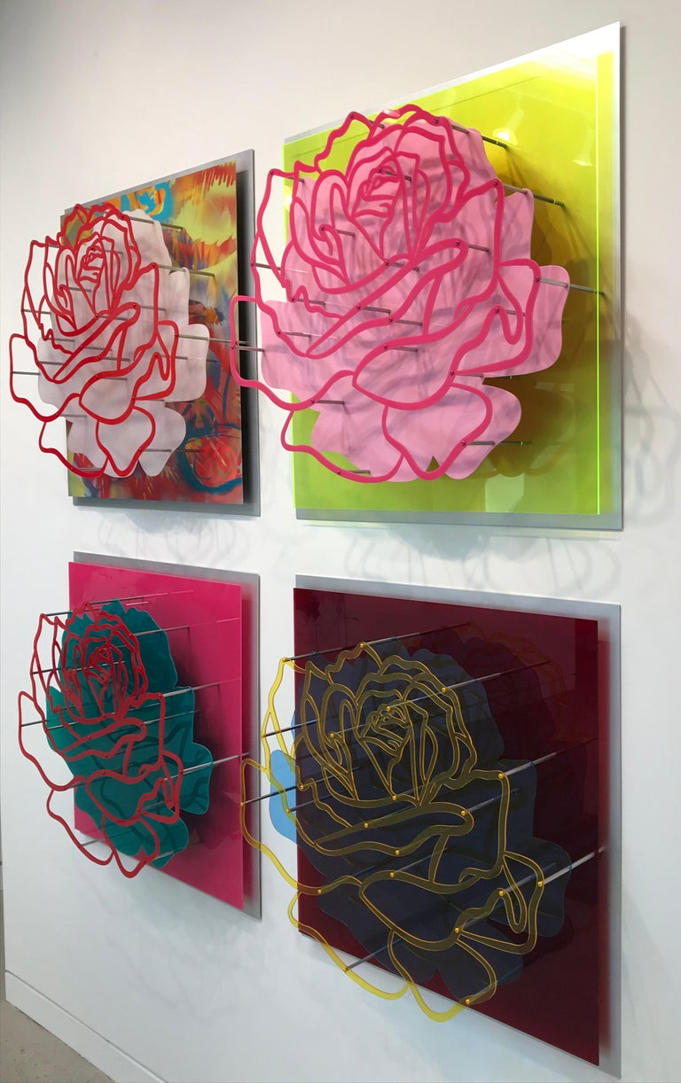 """Michael Kalish Abstract Painting - Four Acrylic """"Glass"""" Roses"""