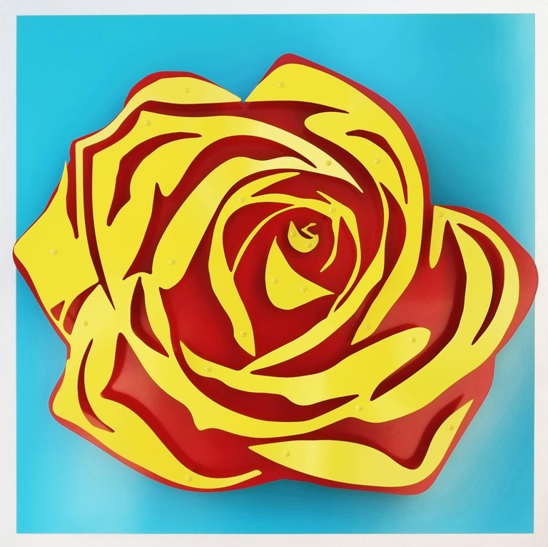 Michael Kalish Editions Still-Life Sculpture - Rose - Yellow on Blue