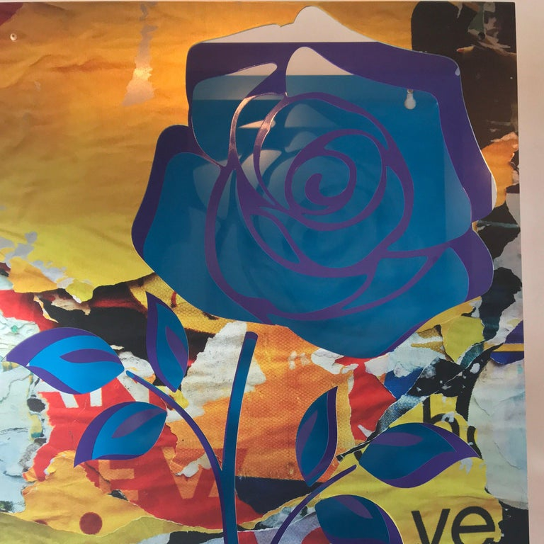 Crush- Rose on Blue - Brown Abstract Sculpture by Michael Kalish