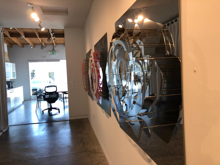 Large Rose - Mirrored Stainless - Gray Abstract Sculpture by Michael Kalish