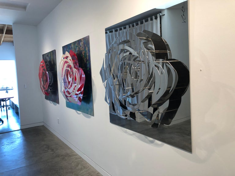 Signed and numbered limited edition of 18.  Commission only with apx. 5 week lead time.  This is an incredibly dimensional wall sculpture made with multiple layers of layered laser cut chromed stainless steel.   Michael Kalish is an internationally