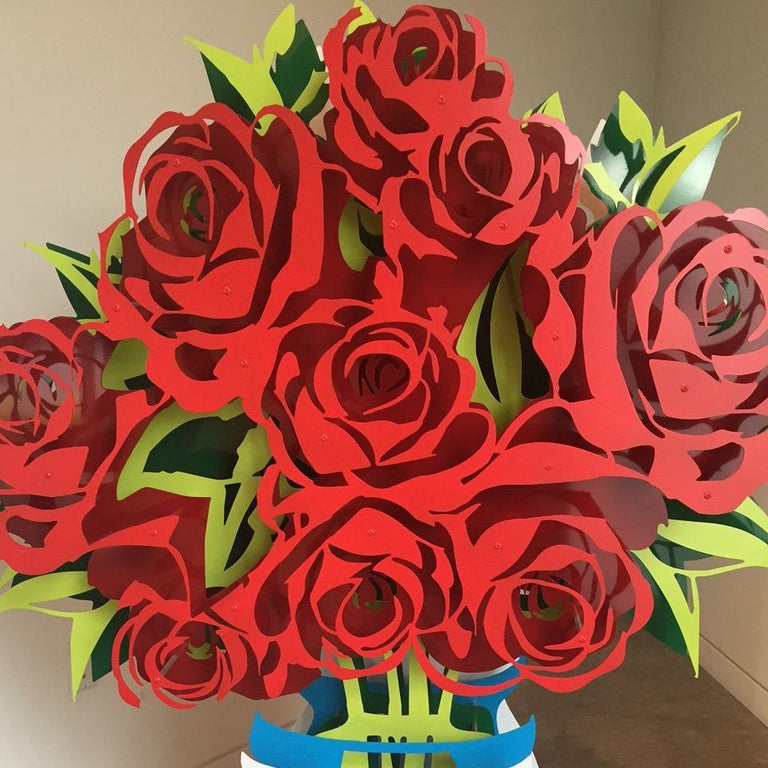Vase of Roses - Large Painted - Pop Art Sculpture by Michael Kalish