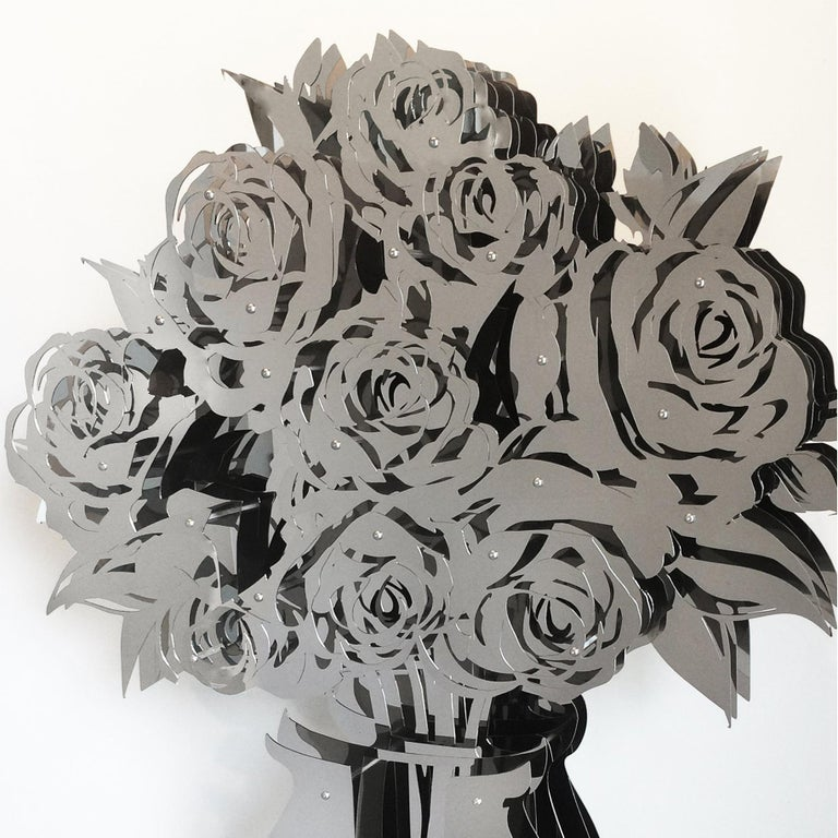 Vase of Roses - Mirrored Stainless 60 - Gray Abstract Sculpture by Michael Kalish