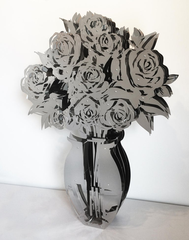 Michael Kalish Abstract Sculpture - Vase of Roses - Mirrored Stainless 60