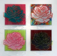 "Four Acrylic ""Glass"" Roses"