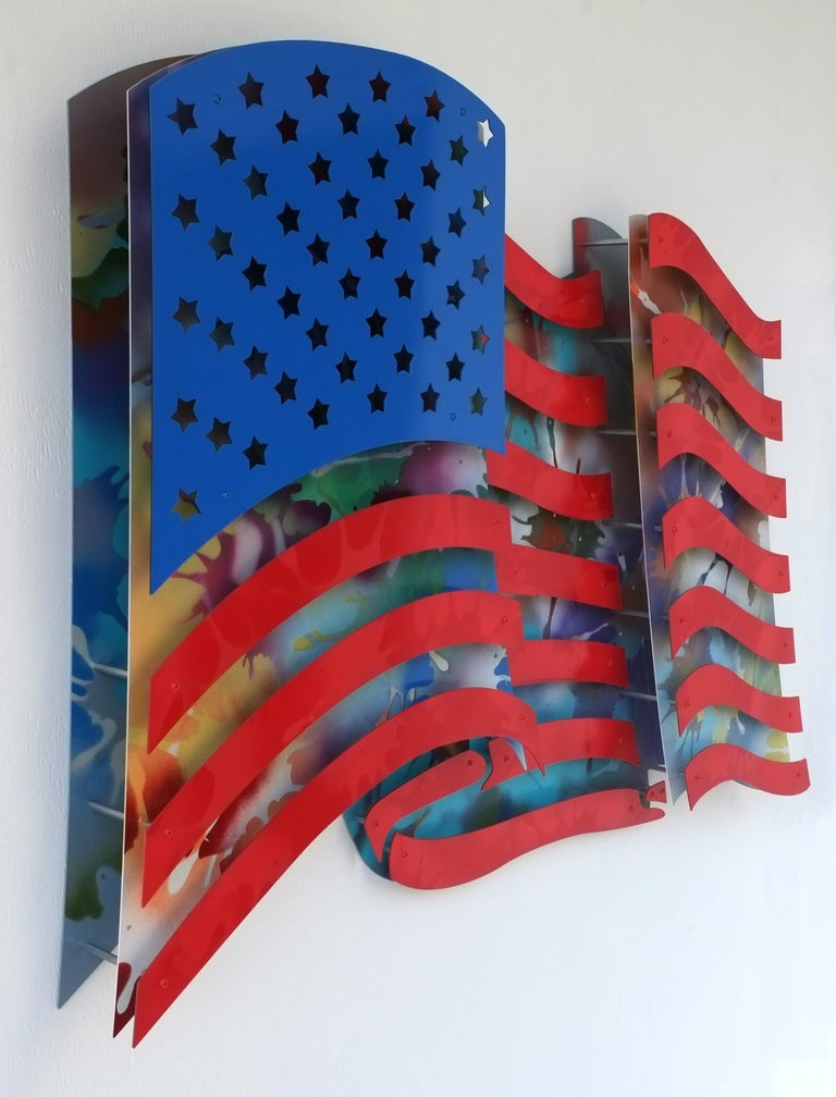 American Flag - Multi Color - Pop Art Sculpture by Michael Kalish