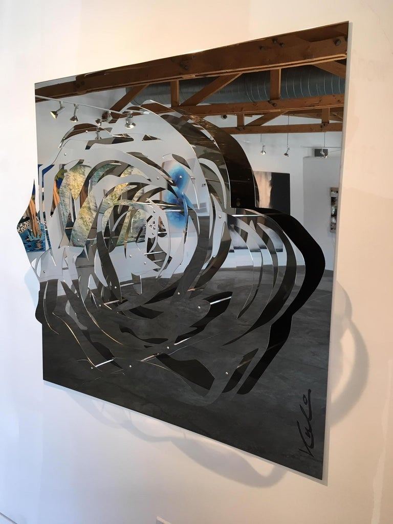 Large Rose - Mirrored Stainless - Contemporary Sculpture by Michael Kalish