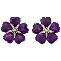Michael Kanners Amethyst Diamond Gold Flower Earclips