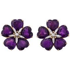 Michael Kanners Amethyst Diamond Gold Flower Earclips