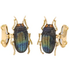 Michael Kanners Carved Stone Beetle Cufflinks
