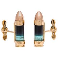Michael Kanners Bi-Color Tourmaline Gold Bullet Cufflinks