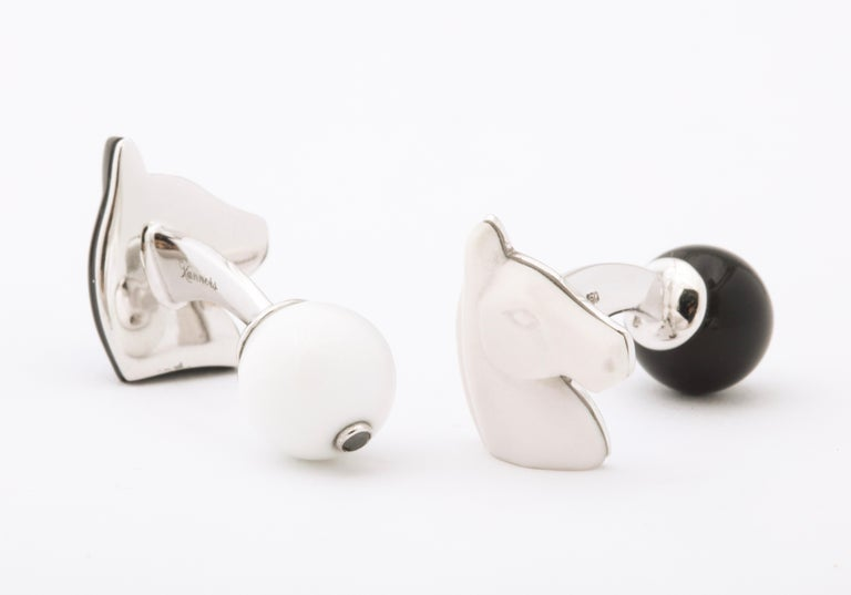 Michael Kanners Black and White Horse Cufflinks For Sale 4