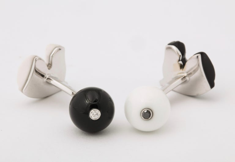 Michael Kanners Black and White Horse Cufflinks For Sale 5