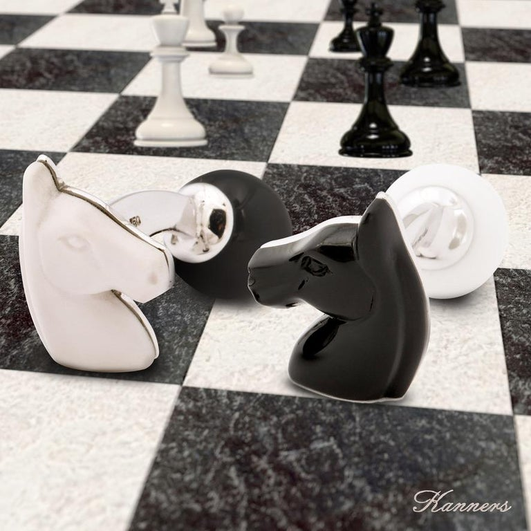 Michael Kanners Black and White Horse Cufflinks For Sale 11