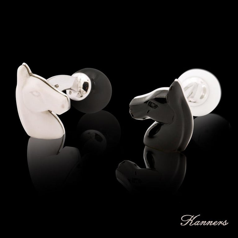 In the game of chess the knight moves in the most unique way and is represented by a horse.  In the sporting world the elite equestrian disciplines feature the  most beautiful horses in the world.  These unique cufflinks do justice to both of the