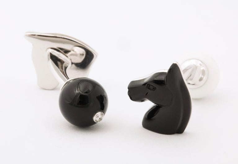 Michael Kanners Black and White Horse Cufflinks For Sale 3