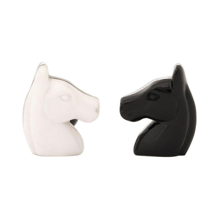 Michael Kanners Black and White Horse Cufflinks For Sale