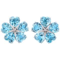 Michael Kanners Bright Blue Topaz Diamond Gold Flower Earclips