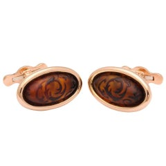 Michael Kanners Carved Amber Cufflinks