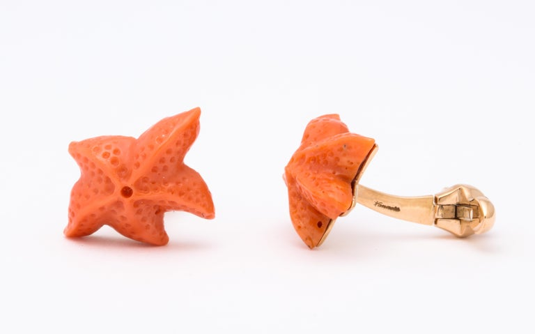 Women's or Men's Michael Kanners Carved Coral Starfish Cufflinks For Sale