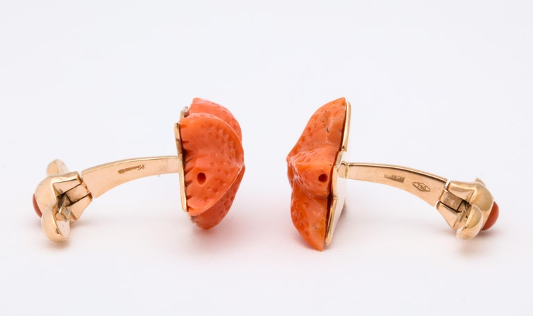 Michael Kanners Carved Coral Starfish Cufflinks For Sale 3