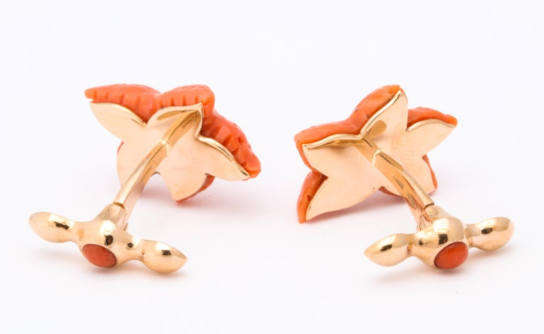 Michael Kanners Carved Coral Starfish Cufflinks For Sale 4