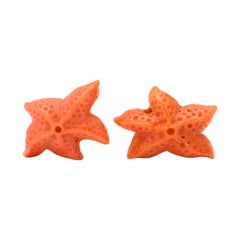 Michael Kanners Carved Coral Starfish Cufflinks