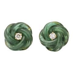 Michael Kanners Carved Green Tourmaline Diamond Magic Knot Cufflinks