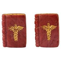 Michael Kanners Carved Stone Caduceus Book Cufflinks