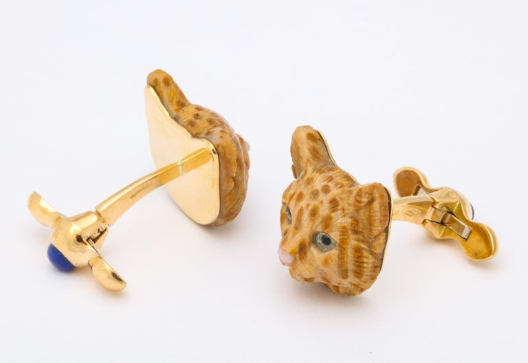 Women's or Men's Michael Kanners Carved Stone Cat Cufflinks For Sale