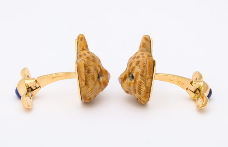Michael Kanners Carved Stone Cat Cufflinks For Sale 1