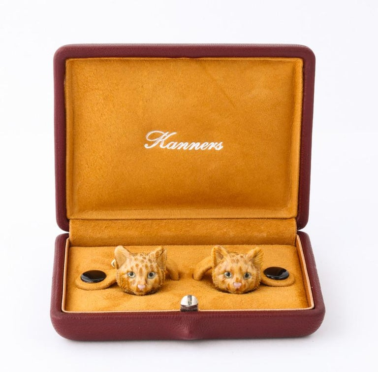 Michael Kanners Carved Stone Cat Cufflinks For Sale 4