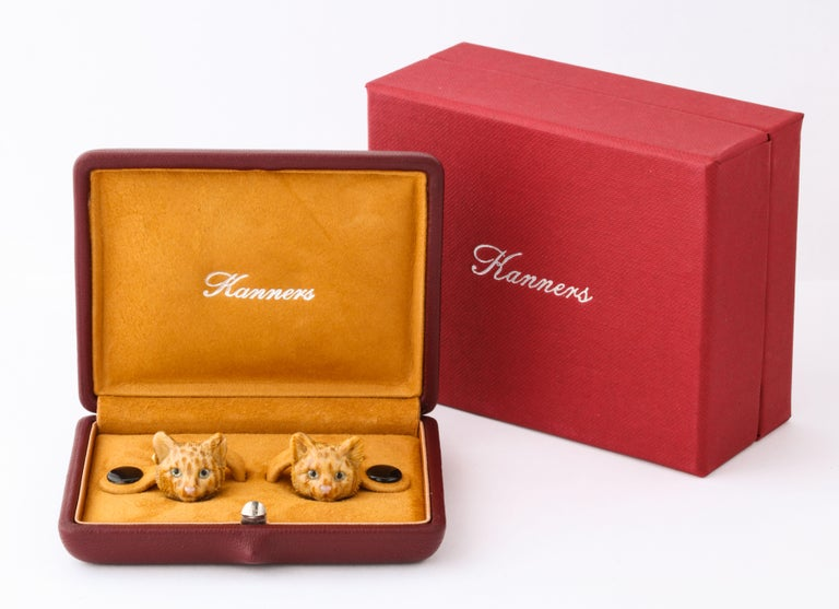 Michael Kanners Carved Stone Cat Cufflinks For Sale 5