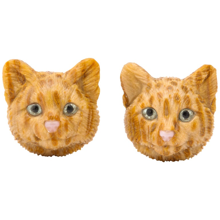 Michael Kanners Carved Stone Cat Cufflinks For Sale
