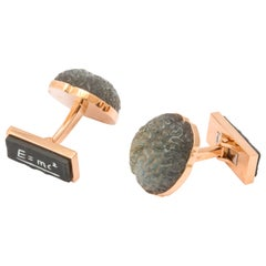 Michael Kanners Carved Stone Einstein's Brain Cufflinks