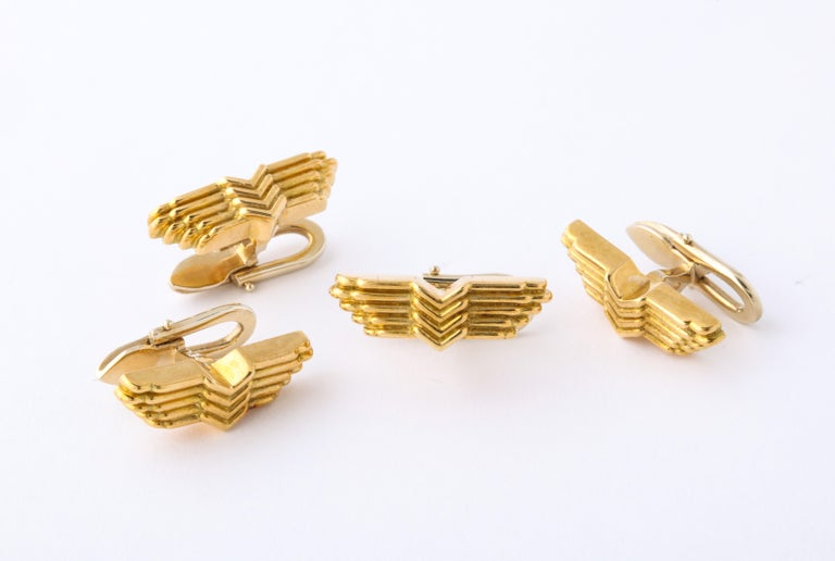 Michael Kanners Carved Tourmaline Eagle and Gold Wing Dress Set For Sale 5